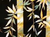 yukata with bamboo leaves in shades of white, green and gold on a black background